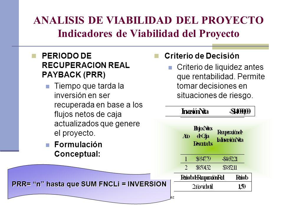 PRR= n hasta que SUM FNCLi = INVERSION