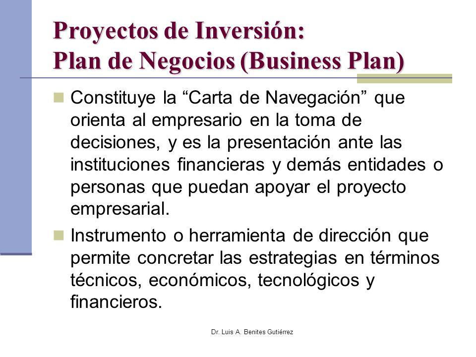 Proyectos de Inversión: Plan de Negocios (Business Plan)