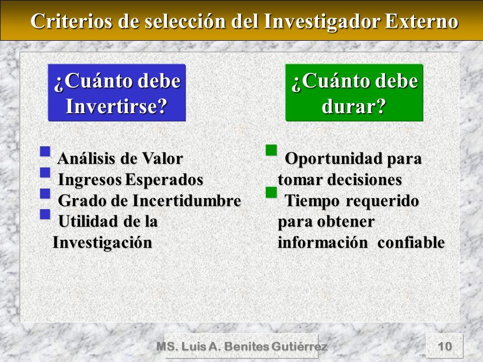 Criterios de selección del Investigador Externo