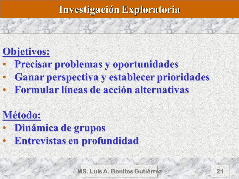Investigación Exploratoria MS. Luis A. Benites Gutiérrez