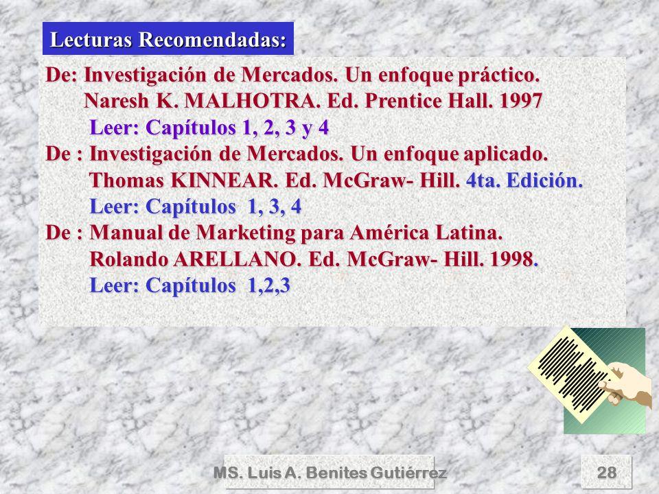 Lecturas Recomendadas: MS. Luis A. Benites Gutiérrez