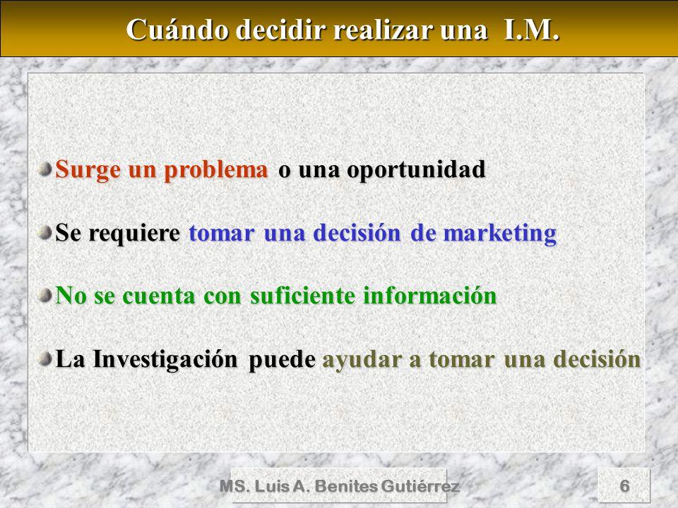 Cuándo decidir realizar una I.M. MS. Luis A. Benites Gutiérrez