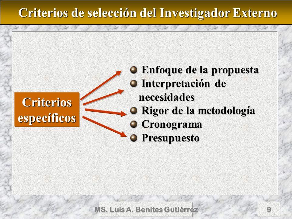 Criterios de selección del Investigador Externo Criterios específicos