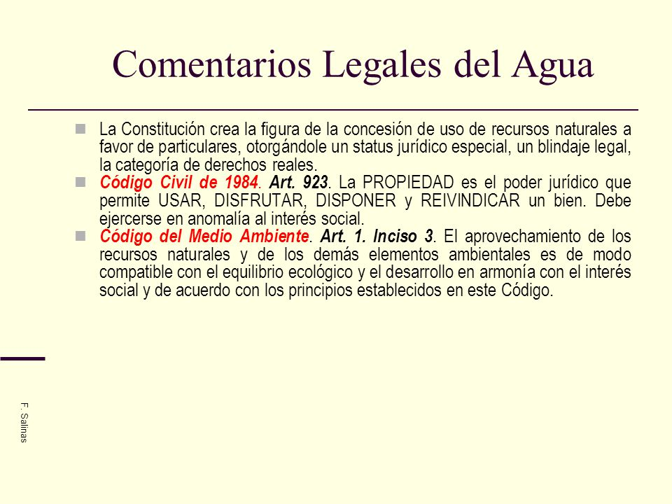 Comentarios Legales del Agua