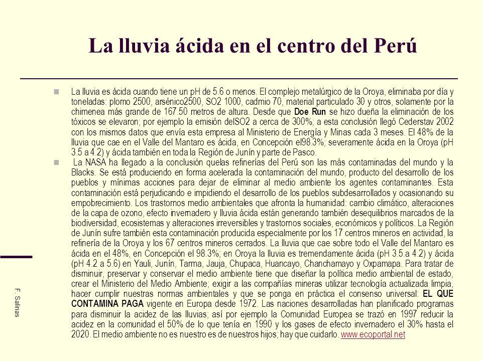 La lluvia ácida en el centro del Perú