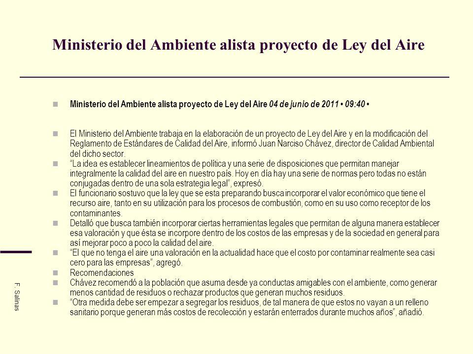 Ministerio del Ambiente alista proyecto de Ley del Aire