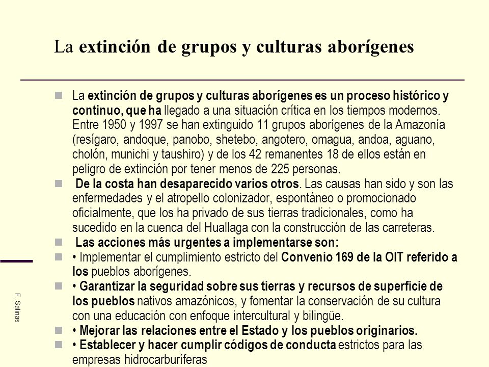 La extinción de grupos y culturas aborígenes