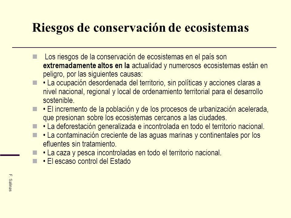 Riesgos de conservación de ecosistemas