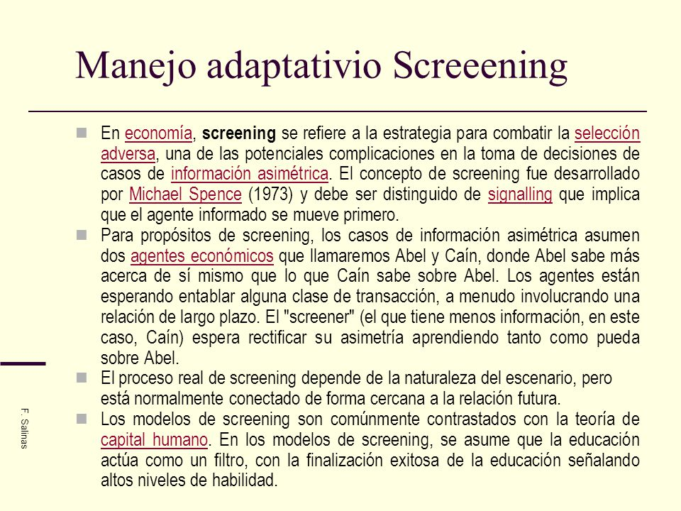 Manejo adaptativio Screeening