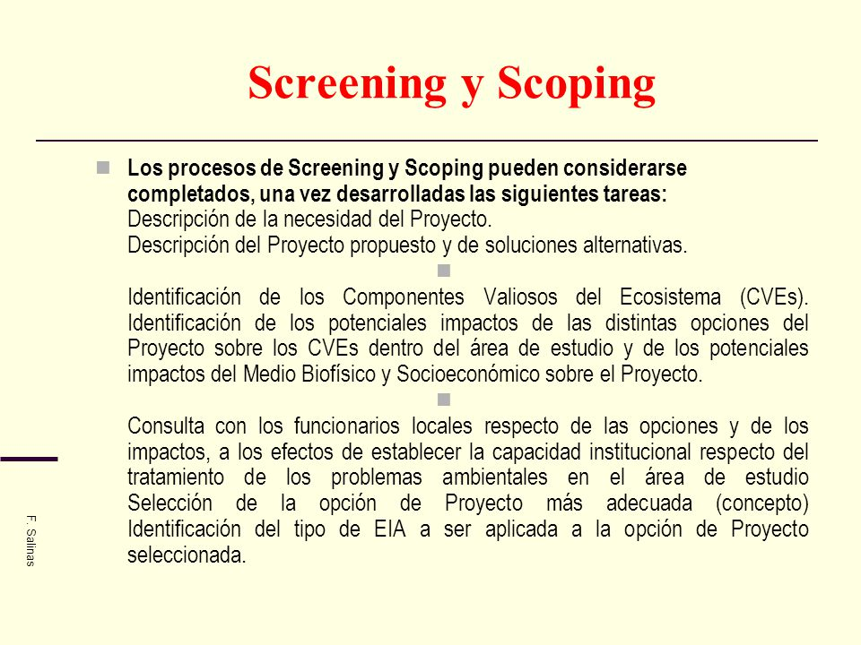 Screening y Scoping