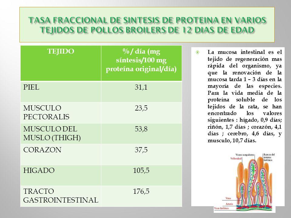 % / día (mg síntesis/100 mg proteína original/día)