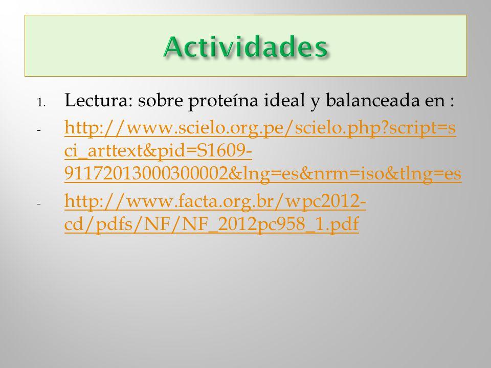Actividades Lectura: sobre proteína ideal y balanceada en :