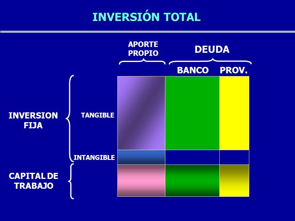 INVERSIÓN TOTAL DEUDA BANCO PROV. INVERSION FIJA CAPITAL DE TRABAJO