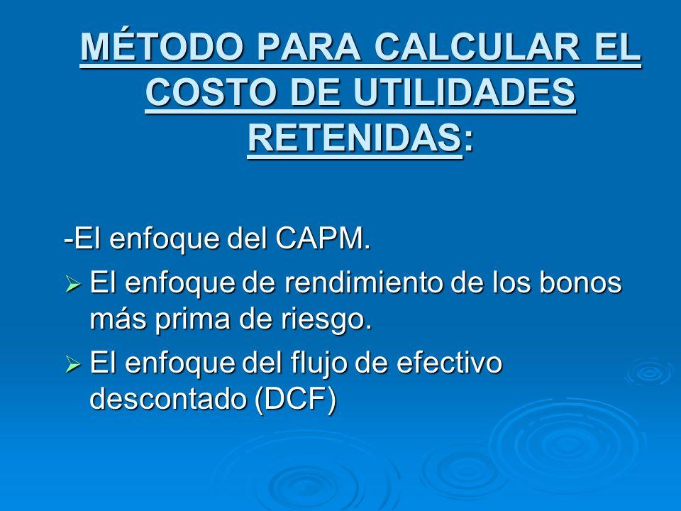 MÉTODO PARA CALCULAR EL COSTO DE UTILIDADES RETENIDAS: