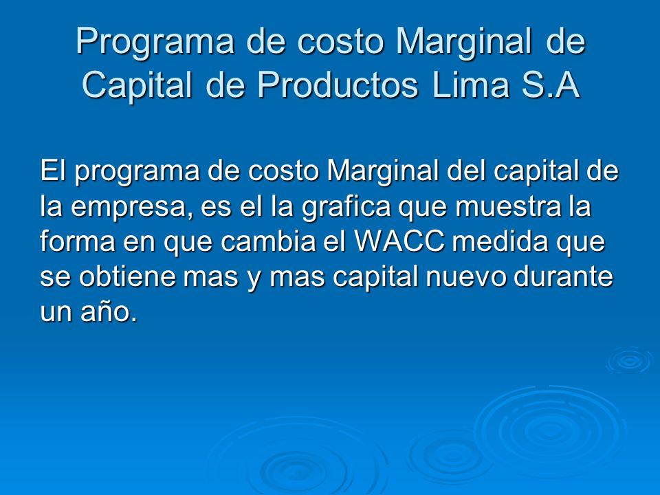 Programa de costo Marginal de Capital de Productos Lima S.A