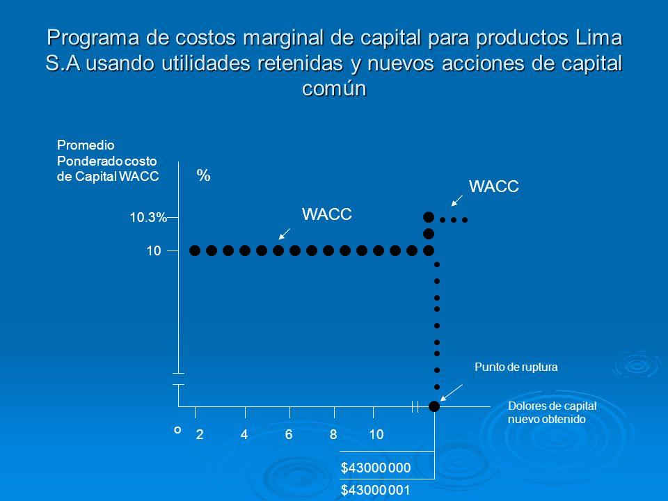 Programa de costos marginal de capital para productos Lima S