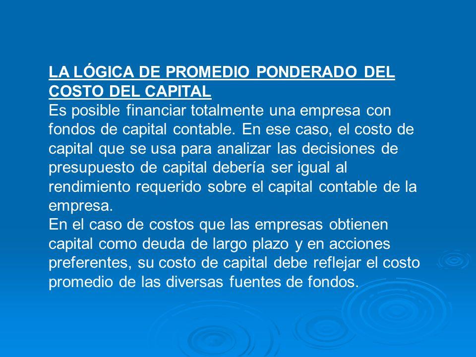 LA LÓGICA DE PROMEDIO PONDERADO DEL COSTO DEL CAPITAL