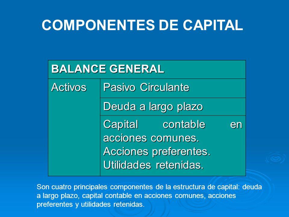 COMPONENTES DE CAPITAL
