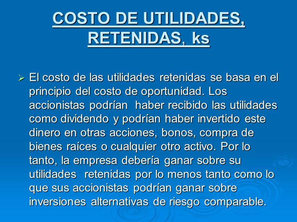 COSTO DE UTILIDADES, RETENIDAS, ks