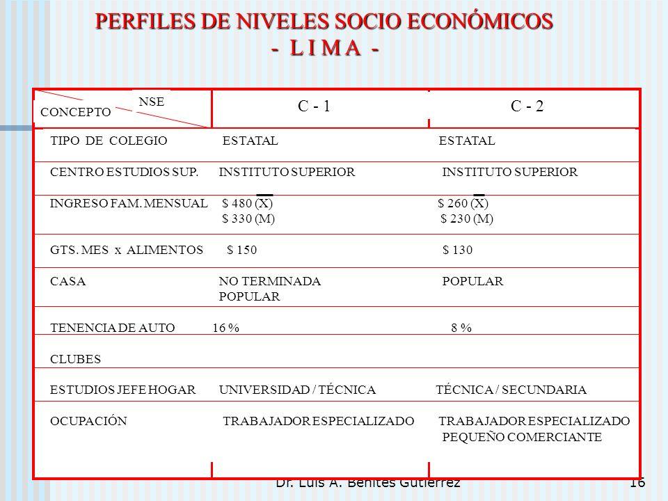 PERFILES DE NIVELES SOCIO ECONÓMICOS - L I M A -