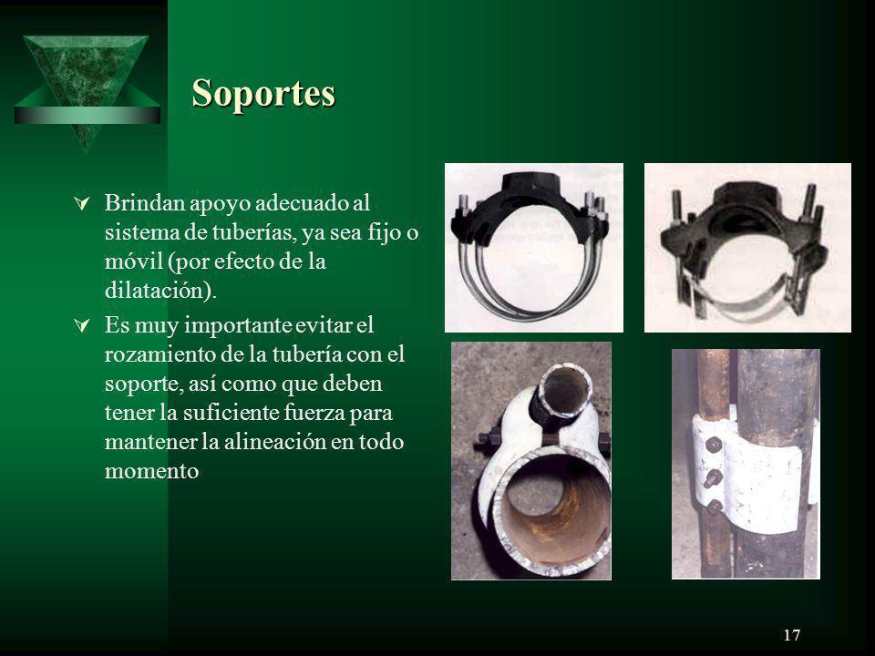Soportes Brindan apoyo adecuado al sistema de tuberías, ya sea fijo o móvil (por efecto de la dilatación).