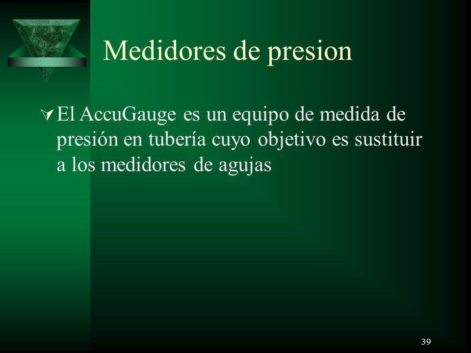 Medidores de presion El AccuGauge es un equipo de medida de presión en tubería cuyo objetivo es sustituir a los medidores de agujas.