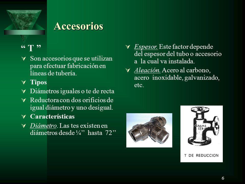 Accesorios T Son accesorios que se utilizan para efectuar fabricación en líneas de tubería. Tipos.