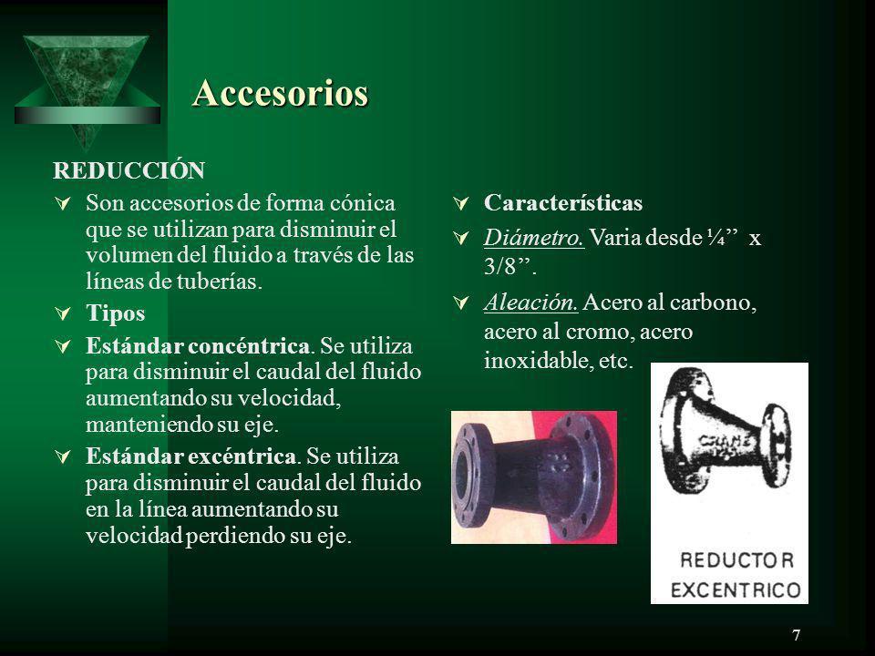 Accesorios REDUCCIÓN. Son accesorios de forma cónica que se utilizan para disminuir el volumen del fluido a través de las líneas de tuberías.