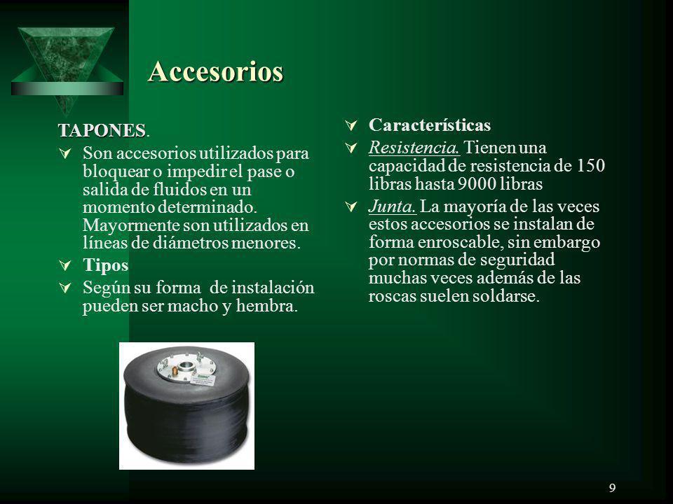 Accesorios Características TAPONES.