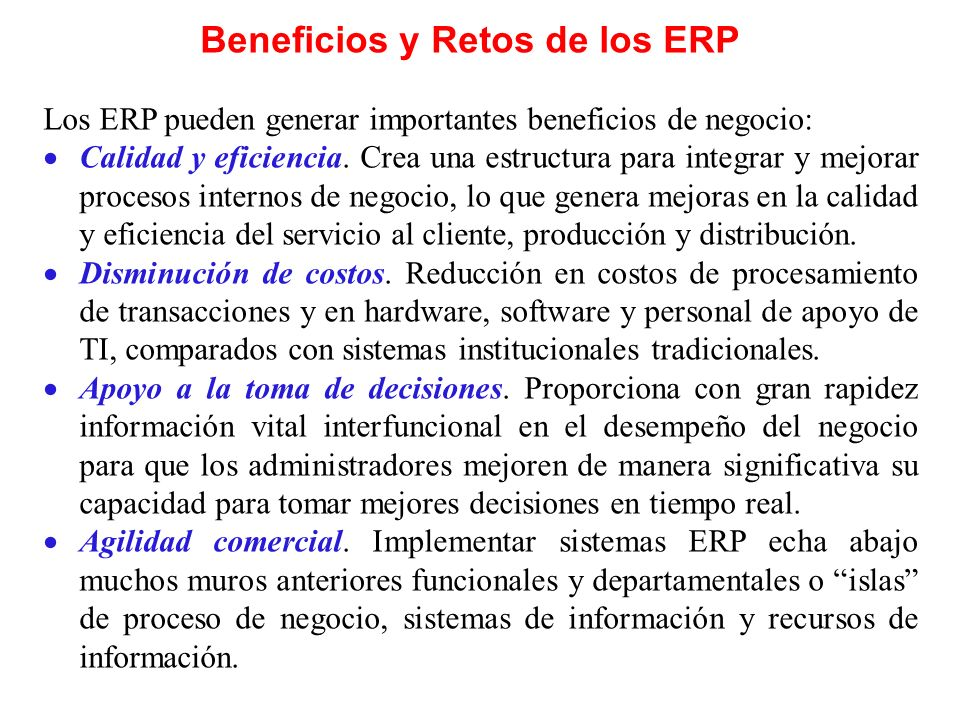 Beneficios y Retos de los ERP