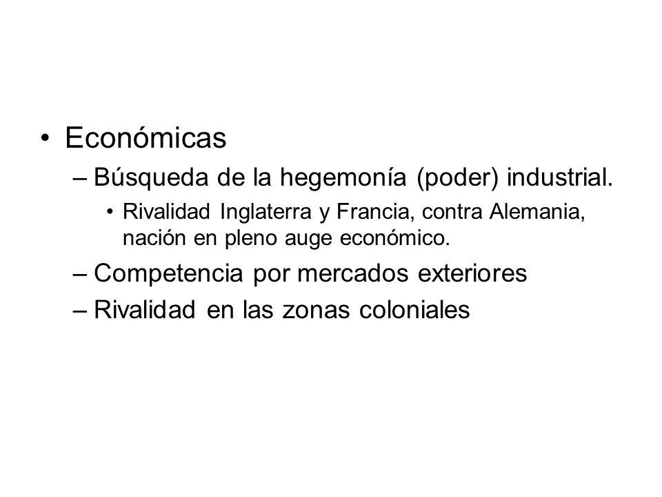 Económicas Búsqueda de la hegemonía (poder) industrial.