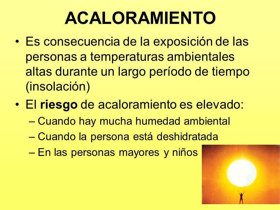 ACALORAMIENTO Es consecuencia de la exposición de las personas a temperaturas ambientales altas durante un largo período de tiempo (insolación)