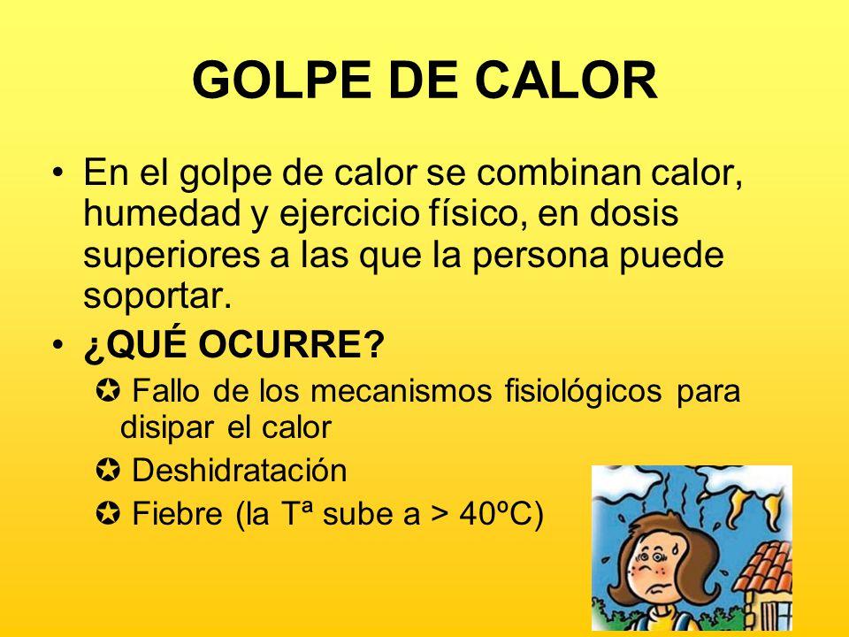 GOLPE DE CALOR En el golpe de calor se combinan calor, humedad y ejercicio físico, en dosis superiores a las que la persona puede soportar.