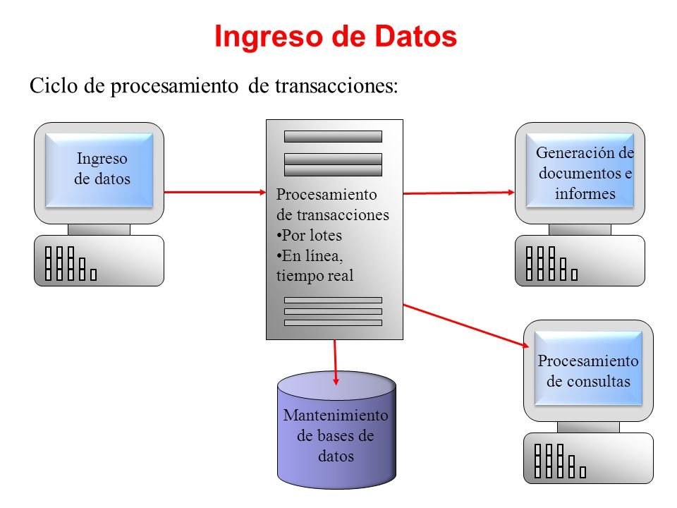 Ingreso de Datos Ciclo de procesamiento de transacciones: