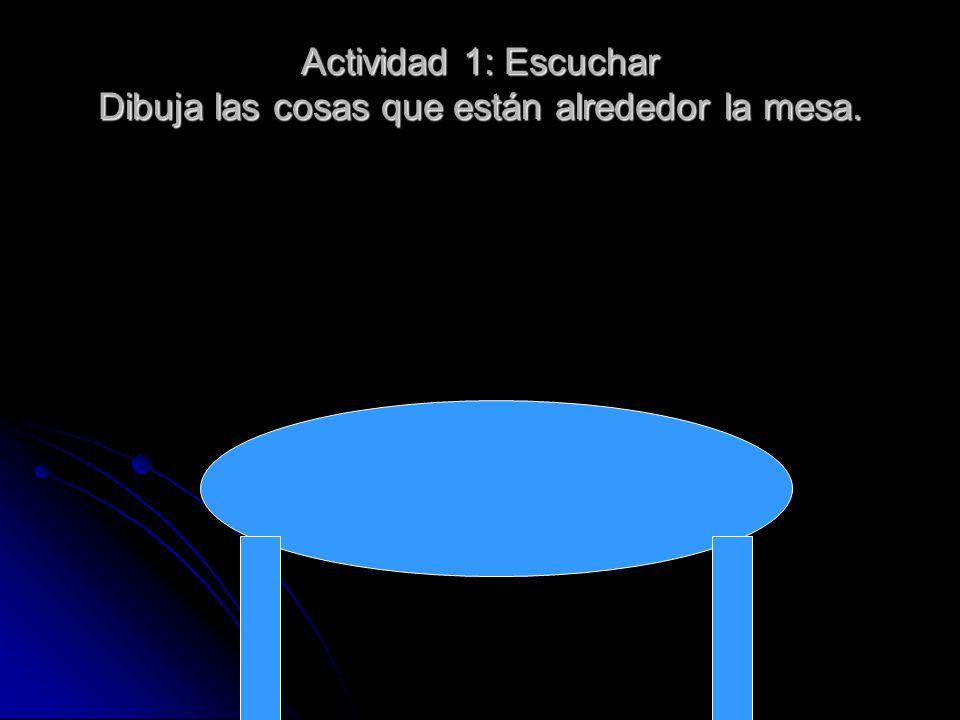 Actividad 1: Escuchar Dibuja las cosas que están alrededor la mesa.