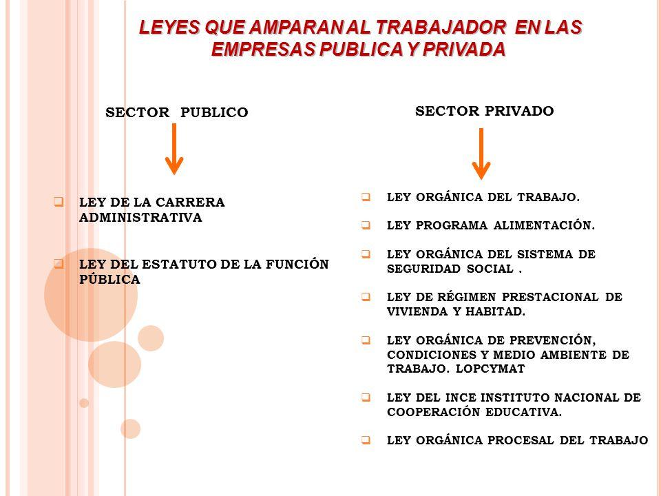 LEYES QUE AMPARAN AL TRABAJADOR EN LAS EMPRESAS PUBLICA Y PRIVADA