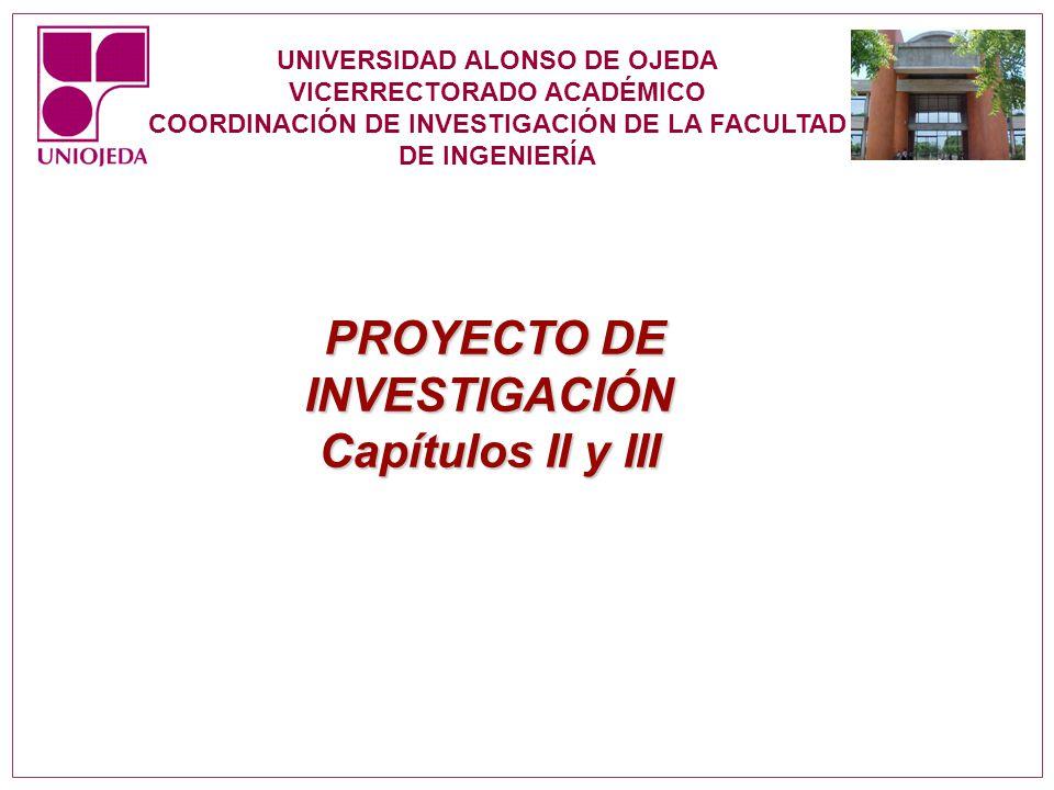 Capítulos II y III PROYECTO DE INVESTIGACIÓN