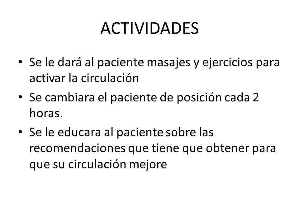 ACTIVIDADES Se le dará al paciente masajes y ejercicios para activar la circulación. Se cambiara el paciente de posición cada 2 horas.