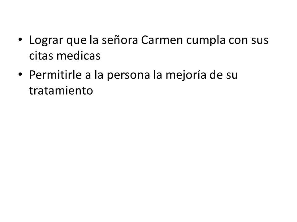 Lograr que la señora Carmen cumpla con sus citas medicas