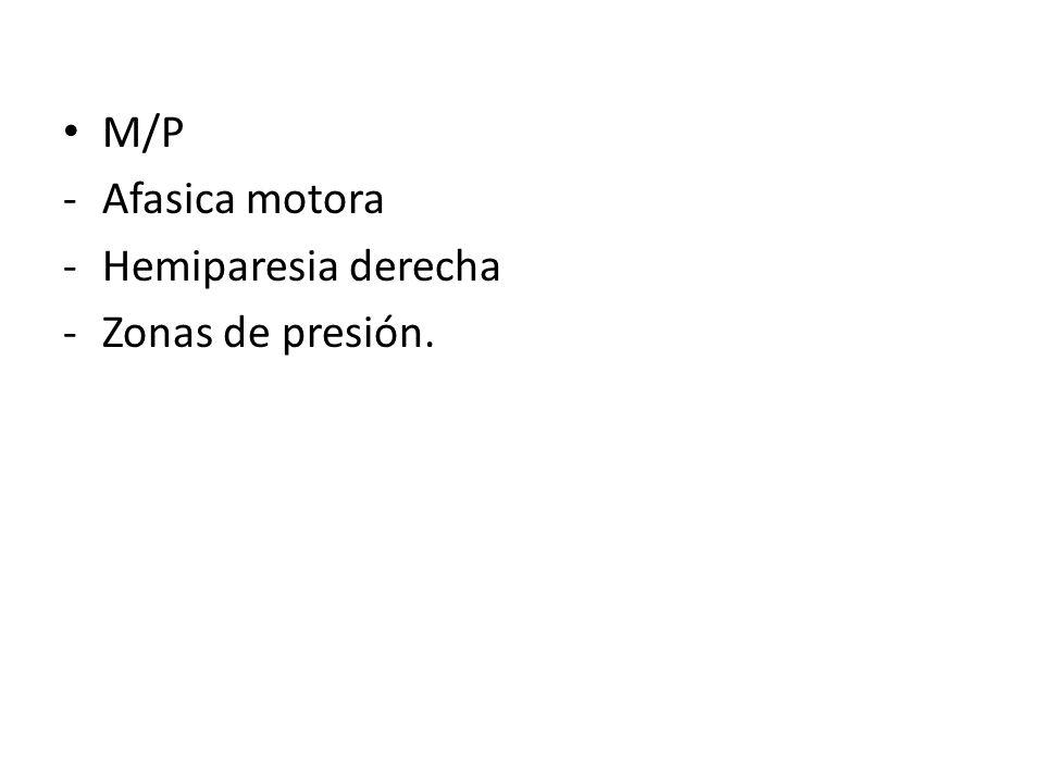 M/P Afasica motora Hemiparesia derecha Zonas de presión.