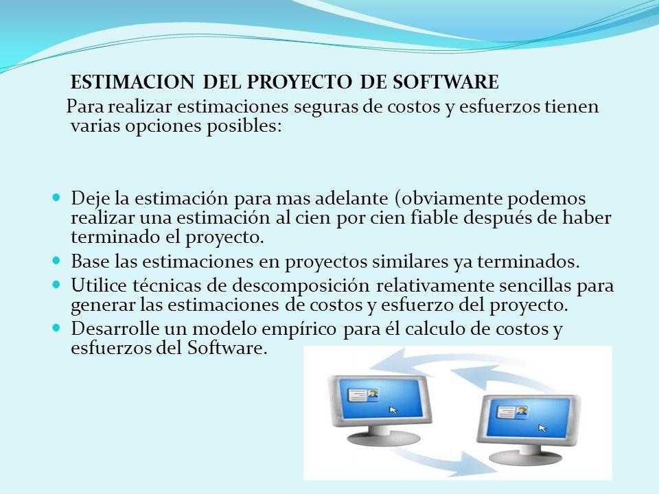 ESTIMACION DEL PROYECTO DE SOFTWARE