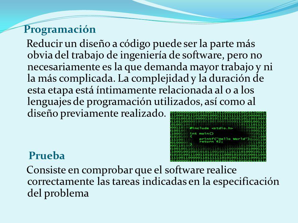 Programación Reducir un diseño a código puede ser la parte más obvia del trabajo de ingeniería de software, pero no necesariamente es la que demanda mayor trabajo y ni la más complicada.