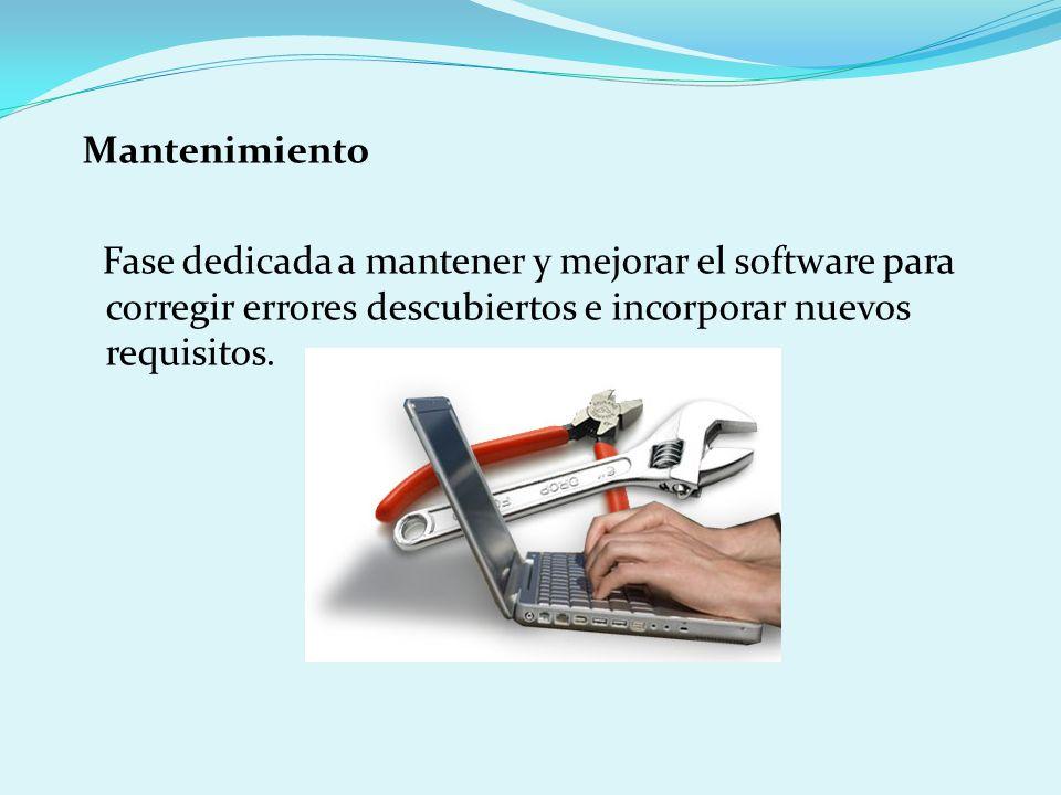 Mantenimiento Fase dedicada a mantener y mejorar el software para corregir errores descubiertos e incorporar nuevos requisitos.