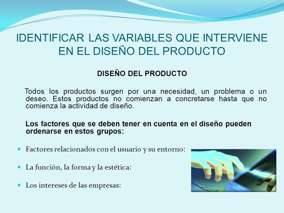 IDENTIFICAR LAS VARIABLES QUE INTERVIENE EN EL DISEÑO DEL PRODUCTO