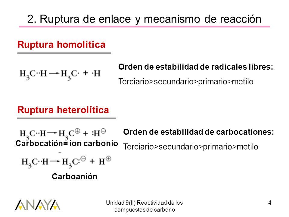 2. Ruptura de enlace y mecanismo de reacción