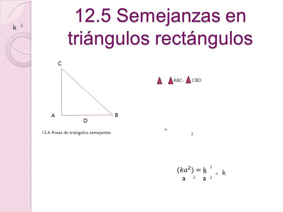 12.5 Semejanzas en triángulos rectángulos