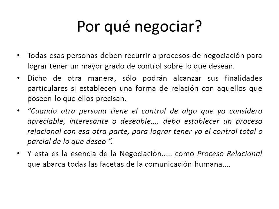 Por qué negociar Todas esas personas deben recurrir a procesos de negociación para lograr tener un mayor grado de control sobre lo que desean.