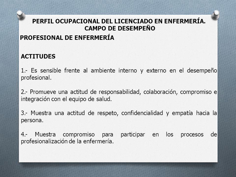 PERFIL OCUPACIONAL DEL LICENCIADO EN ENFERMERÍA.