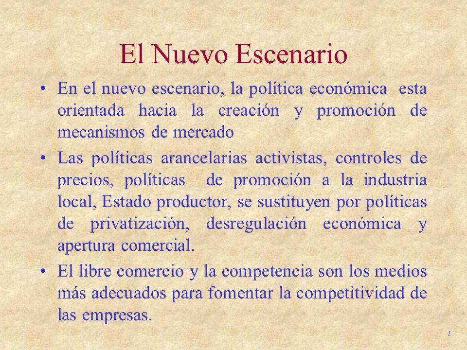 El Nuevo Escenario En el nuevo escenario, la política económica esta orientada hacia la creación y promoción de mecanismos de mercado.