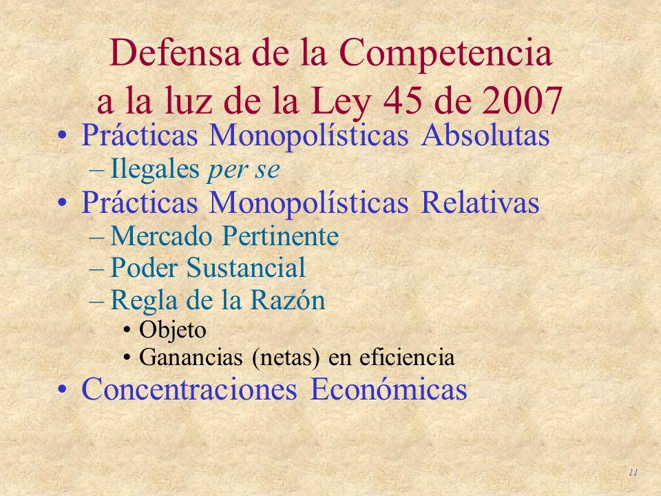 Defensa de la Competencia a la luz de la Ley 45 de 2007